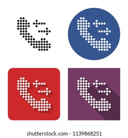 Dotted icon of handset with incoming-outgoing arrrows in four variants. With short and long shadow