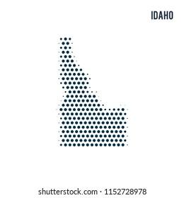 Dotted Idaho map isolated on white background.