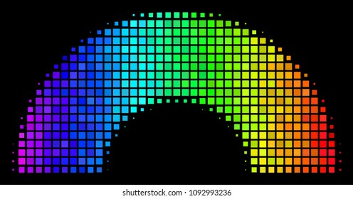 Dotted impressive halftone rainbow icon using rainbow color shades with horizontal gradient on a black background. Color vector composition of rainbow illustration organized with square pixels.