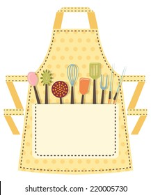Dotted kitchen apron with kitchen utensils in the pocket. Vector illustration