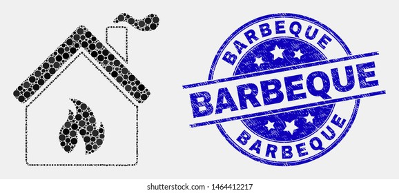 Dotted kitchen building mosaic pictogram and Barbeque seal stamp. Blue vector rounded distress seal stamp with Barbeque phrase. Vector combination in flat style.