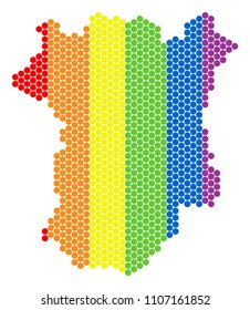 A dotted LGBT Chechnya map for lesbians, gays, bisexuals, and transgenders. Colorful vector mosaic of Chechnya map formed of round dots. Gay marriage conceptual illustration consists of small spheres.