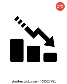 Dotted line down of chart Icon Flat Style Isolated Vector Illustration