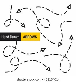 dotted line Hand drawn arrows pack