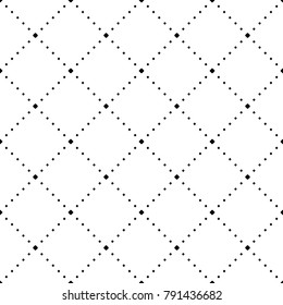 Dotted line rhombus seamless pattern vector. Black geometric shape diagonal repeatable on white background.