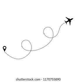 Dotted line with silhouette of airplane. Trajectory route, isolated on white background. Vector illustration.