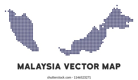 Dotted Malaysia map. Abstract geographic plan. Pixels have rhombus form and dark blue color. Vector mosaic of Malaysia map created of rhombus pixel pattern.