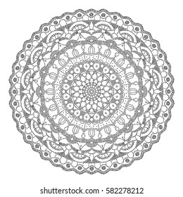 Dotted mandala black on white. Abstract vector pattern