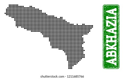 Dotted map of Abkhazia and unclean caption. Vector green title inside rounded rectangle and unclean rubber texture. Pixelated map of Abkhazia constructed with black pattern of round dots.