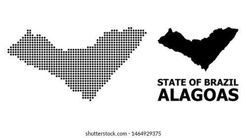 Dotted map of Alagoas State composition and solid illustration. Vector map of Alagoas State composition of circle dots on a white background. Abstract flat geographic plan for education illustrations.