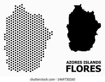 Dotted map of Azores - Flores Island composition and solid illustration. Vector map of Azores - Flores Island composition of round items with hexagonal periodic array on a white background.