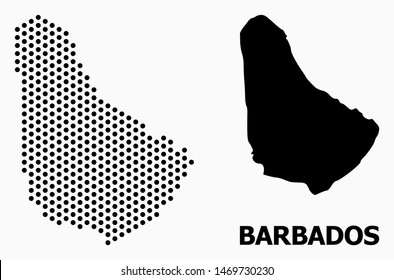 Dotted map of Barbados composition and solid illustration. Vector map of Barbados composition of sphere items with hexagonal geometric pattern on a white background.