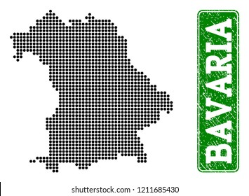 Dotted map of Bavaria State and corroded caption. Vector green title inside rounded rectangle and corroded rubber texture. Pixelated map of Bavaria State constructed with black pattern of round dots.