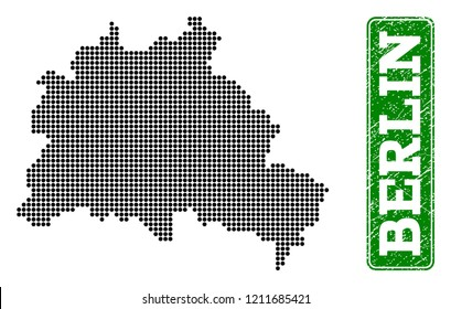 Dotted map of Berlin City and rubber caption. Vector green title inside rounded rectangle and scratched rubber texture. Pixelated map of Berlin City constructed with black pattern of round dots.
