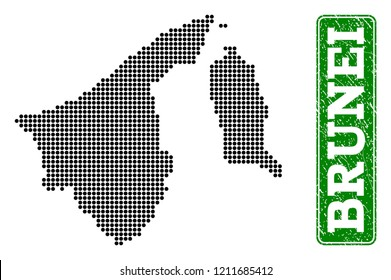 Dotted map of Brunei and rubber caption. Vector green title inside rounded rectangle and unclean rubber texture. Pixelated map of Brunei designed with black pattern of round dots.