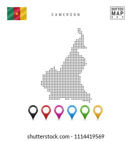 Dotted Map of Cameroon. Simple Silhouette of Cameroon. The National Flag of Cameroon. Set of Multicolored Map Markers. Vector Illustration Isolated on White Background.