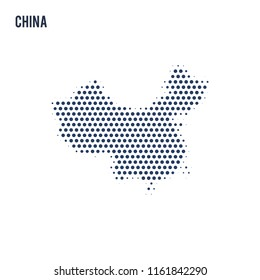 Dotted map of China isolated on white background.