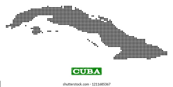 Dotted map of Cuba Island and rubber caption. Vector green title inside rounded rectangle and grunge rubber texture. Pixelated map of Cuba Island designed with black pattern of round dots.