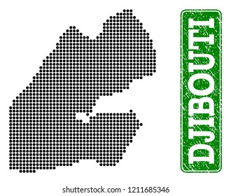 Dotted map of Djibouti and scratched caption. Vector green title inside rounded rectangle and scratched rubber texture. Pixelated map of Djibouti designed with black pattern of round dots.