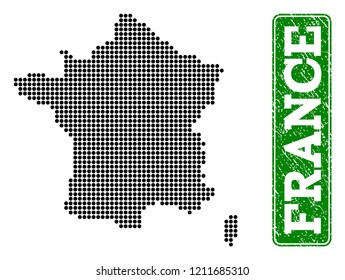 Dotted map of France and rubber caption. Vector green title inside rounded rectangle and distress rubber texture. Pixelated map of France constructed with black pattern of round dots.