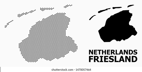 Dotted map of Friesland Province composition and solid illustration. Vector map of Friesland Province composition of sphere spots with hexagonal geometric order on a white background.