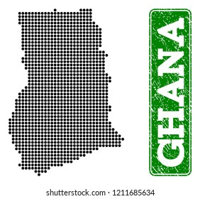 Dotted map of Ghana and rubber caption. Vector green title inside rounded rectangle and corroded rubber texture. Pixelated map of Ghana constructed with black pattern of round dots.
