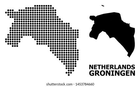 Dotted map of Groningen Province composition and solid illustration. Vector map of Groningen Province composition of round elements on a white background.