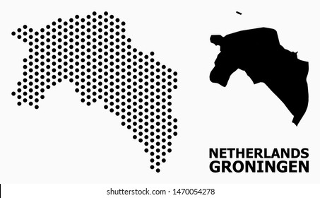 Dotted map of Groningen Province composition and solid illustration. Vector map of Groningen Province composition of sphere pixels with honeycomb geometric array on a white background.