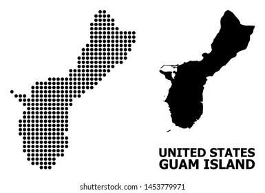 Dotted map of Guam Island composition and solid illustration. Vector map of Guam Island composition of sphere elements on a white background. Abstract flat territorial plan for political purposes.