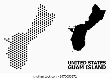 Dotted map of Guam Island composition and solid illustration. Vector map of Guam Island composition of round items with hexagonal geometric order on a white background.