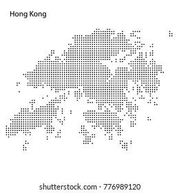 Dotted map of Hong Kong. Vector eps10.