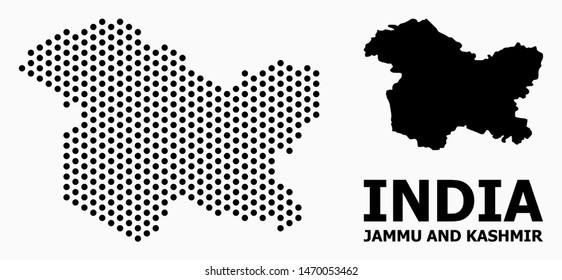 Dotted map of Jammu and Kashmir State composition and solid illustration. Vector map of Jammu and Kashmir State composition of spheric elements with hexagonal periodic order on a white background.
