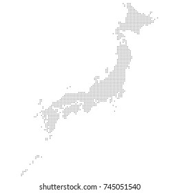 Dotted map of Japan. Vector eps10