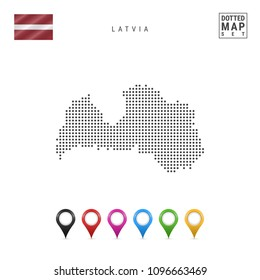Dotted Map of Latvia. Simple Silhouette of Latvia. The National Flag of Latvia. Set of Multicolored Map Markers. Vector Illustration Isolated on White Background.