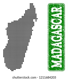 Dotted map of Madagascar Island and grunge caption. Vector green title inside rounded rectangle and grunge rubber texture.