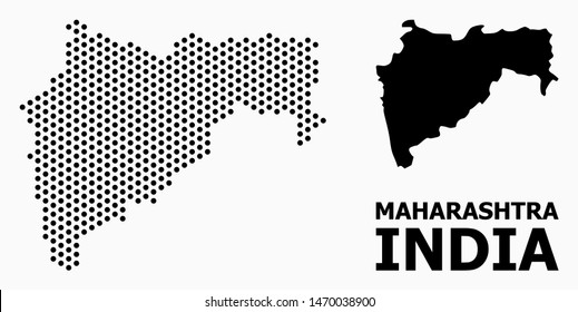 Dotted map of Maharashtra State composition and solid illustration. Vector map of Maharashtra State composition of spheric points with honeycomb geometric order on a white background.