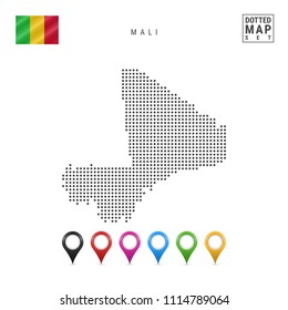Dotted Map of Mali. Simple Silhouette of Mali. The National Flag of Mali. Set of Multicolored Map Markers. Vector Illustration Isolated on White Background.