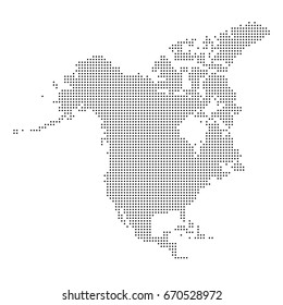 Dotted map of North America. Vector eps 10