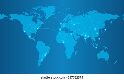 Dotted map on blue gradient background with resolution 5000x2500 dots and major world cities shown with glowing blue dots and connected with lines.