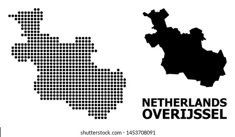 Dotted map of Overijssel Province composition and solid illustration. Vector map of Overijssel Province combination of sphere points on a white background.