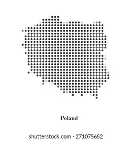 Dotted map of Poland for your design, concept Illustration.