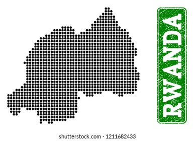 Dotted map of Rwanda and rubber caption. Vector green title inside rounded rectangle and retro rubber texture. Pixelated map of Rwanda designed with black pattern of round dots.