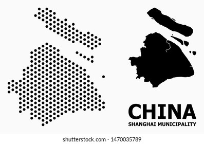 Dotted map of Shanghai Municipality composition and solid illustration. Vector map of Shanghai Municipality composition of sphere points with honeycomb geometric array on a white background.