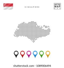 Dotted Map of Singapore. Simple Silhouette of Singapore. The National Flag of Singapore. Set of Multicolored Map Markers. Vector Illustration Isolated on White Background.