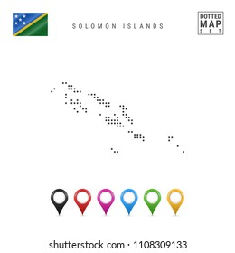 Dotted Map of Solomon Islands. Simple Silhouette of Solomon Islands. The National Flag of Solomon Islands. Set of Multicolored Map Markers. Vector Illustration Isolated on White Background.