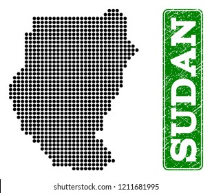 Dotted map of Sudan and rubber caption. Vector green title inside rounded rectangle and retro rubber texture. Pixelated map of Sudan constructed with black pattern of round dots.