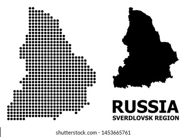 Dotted map of Sverdlovsk Region composition and solid illustration. Vector map of Sverdlovsk Region composition of spheric pixels on a white background.