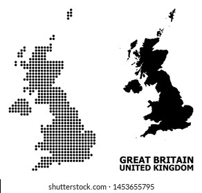 Dotted map of United Kingdom composition and solid illustration. Vector map of United Kingdom composition of spheric spots on a white background.