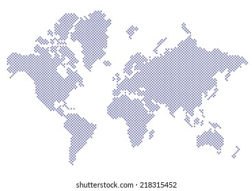 Dotted Map of the World Pyramid Triangles Blue