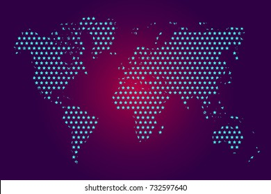 Dotted map of worldwide